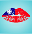 taiwan flag lipstick on the lips isolated on a vector image vector image