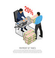 tax inspector isometric poster vector image vector image