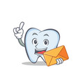 tooth character cartoon style with envelope vector image vector image