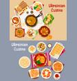 ukrainian cuisine restaurant dinner icon set vector image vector image