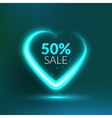 Valentine Sale background with glowing love heart vector image vector image