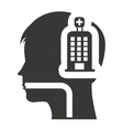 head medical profile with icon vector image