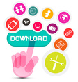 Internet Social Media Symbol - Hand Icon Pushing vector image