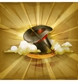 Magic cylinder hat old style background vector image