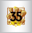 35 year anniversary black gold balloon template vector image vector image