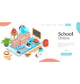 3d online school concept landing page template vector image vector image