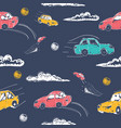 amazing seamless car pattern vector image vector image