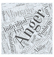 Anger Management Information Word Cloud Concept vector image vector image