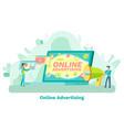 app in laptop online advertising click vector image vector image