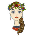 beautiful russian girl in national clothes vector image vector image