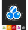 billiards paper sticker with hand drawn elements vector image