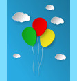 Bunch of bright paper balloons isolated on blue