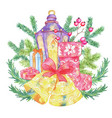 christmas and new year holiday emblem with lantern vector image