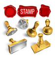 collection of wax seal and stamp cliche set vector image