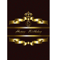Crown over the Gold ribbons and Happy Birthday vector image vector image
