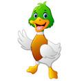 cute baby duck waving hand vector image