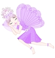 Cute fairy in violet dress with wings is sleeping vector image vector image