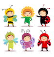 Cute kids wearing insect and flower costumes vector image