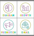 Digital round linear icons templates for web site