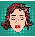 Emoji icon woman face sleep vector image vector image