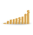 financial growth concept with stacks of golden vector image