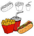 french fries soda hot dog isolated on white vector image vector image