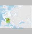 french republic location on europe map vector image