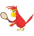 Funny Parrot Tennis vector image vector image