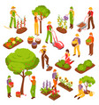 gardening isometric set