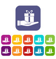 gift box in hand icons set vector image vector image