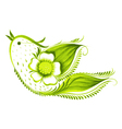 green bird of with flowers and leaves tea vector image vector image