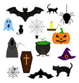 halloween of the set icons color evil vector image vector image