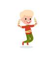 happy boy feeling happy with his ice cream cartoon vector image