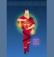 happy chinese new new year card with man wearing vector image vector image
