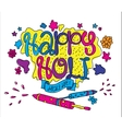 Holi festival greeting card Hand drawn vector image