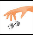 human hand throws black and white dice isolated vector image vector image