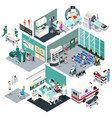 isometric design a hospital vector image