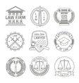 Juridical and legal logo elements in line style vector image vector image