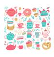 love tea set with tea drinking elements- teacup vector image