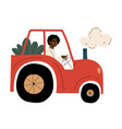 male african american farmer driving tractor with vector image vector image