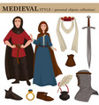 medieval european old retro fashion style of man vector image vector image