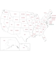 Outline USA map vector image vector image