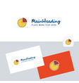pie chart logotype with business card template vector image vector image