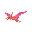 pink pterodactyl in flying action cartoon vector image