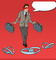 pop art business man walking over the traps vector image