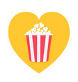 popcorn icon red yellow strip box heart shape i vector image vector image