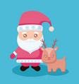 santa claus with reindeer christmas vector image