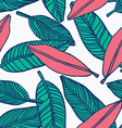 seamless tropical jungle floral pattern background vector image vector image