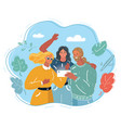 selfie friends get together vector image