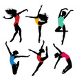 set dance girl ballet silhouettes dancing women vector image